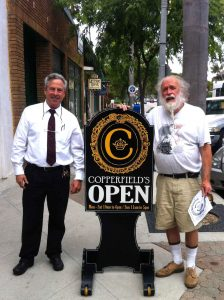 05-31-2012. My dad standing with Allen R. Quigg, the talented artist who built our sidewalk sign.