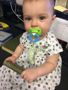 04-29-2015. Speaking of books, here's my little Pippa already helping out at the shop!